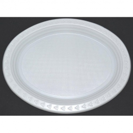 Plastic Plates - Oval - White