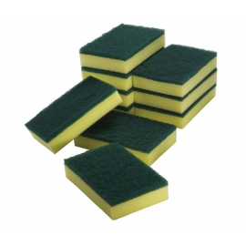 Sponge Scourer - Green/Yellow - 10cm x 15cm x 3cm (10/Pack)