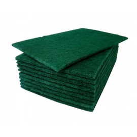 Cleaning Scour Pads - Green - 10cm x 15cm x 1cm (10/Pack)