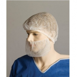 Polypropylene Beard Cover - White - Double Loop