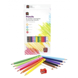 Jumbo Triangular Washable Pencils, 12/Pack (With Bonus Sharpener)