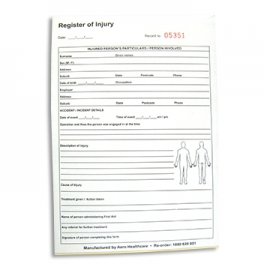 Register of Injuries Pad (A5 Size)
